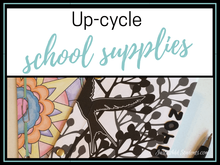 Perfect Earth Day activity. Up-cycle school supplies and create a new notebook that students can personalize.
