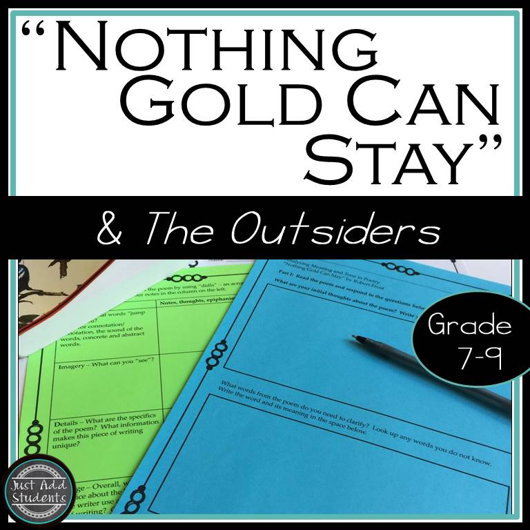 Teach this beautiful poem that is so important to understanding The Outsiders by S.E.Hinton.