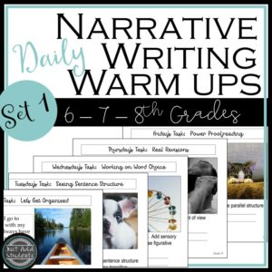 Daily writing warm ups to help students develop narrative writing skills.