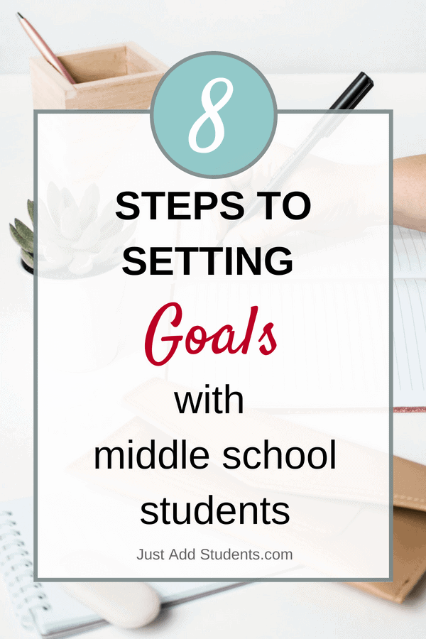 8 Steps to teach middle school students how to set goals and reach them.  Free goal setting forms included.  Great activities for any time of year.