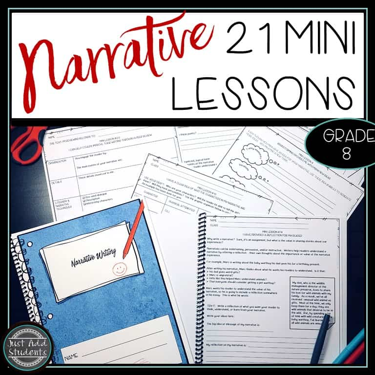 Ready to teach narrative writing? Click through to find 21 mini lessons to use to guide your students through the writing process.