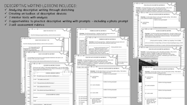 This ready to use workbook will help improve descriptive writing skills.