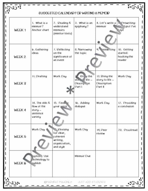 writing calendar for teaching memoir writing