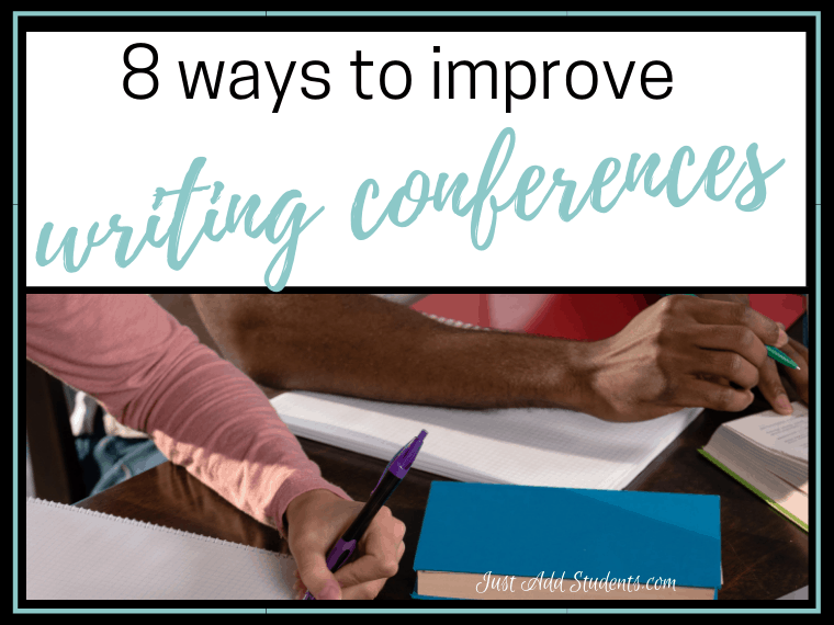 Improve writing conferences with your students. Here are 8 ways to get the most out of writing workshop. Easy ideas with free mini lessons!