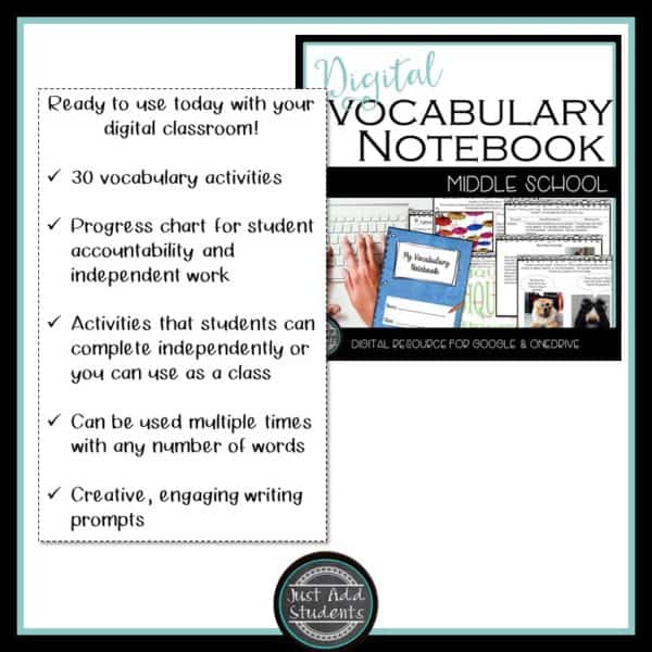 digital vocabulary notebook
